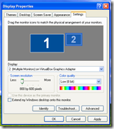 Windows XP multi-monitor settings